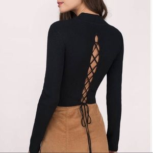 Tobi Look Back Lace Up Crop Sweater